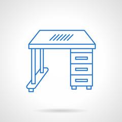 School desk blue flat line vector icon