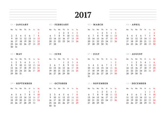 Simple Calendar Template for 2017 Year. Stationery Design. Week starts Monday. Vector Illustration