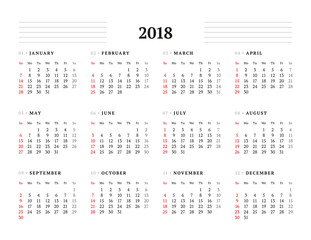 Simple Calendar Template for 2018 Year. Stationery Design. Week starts Sunday. Vector Illustration