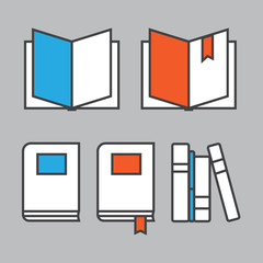 Books line icons in flat style. Books concept logo