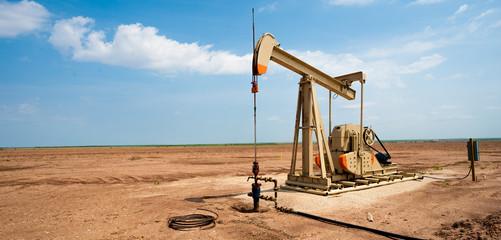 Oil pump jack on the plains of west Texas