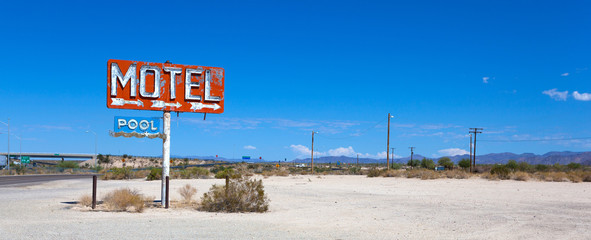 Abadoned, vintage motel sign on route 66