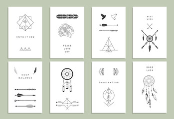 Ethnic cards. Arrows, Indian elements, Aztec borders
