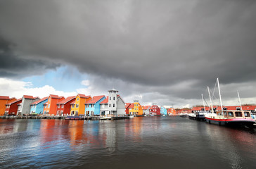 Wall Mural - colorful buildings on water in haven