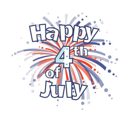 Fourth of July Fireworks - Happy 4th of July clip art with red and blue firework. Eps10