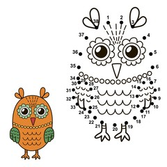 Connect the dots to draw the cute owl and color it