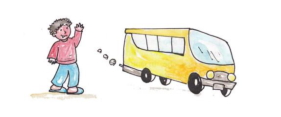 schoolbus with a boy
