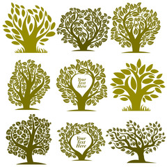 Vector graphic illustration of green trees with empty copy space