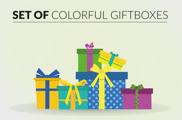 Set of colorful giftboxes