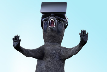 funny raccoon cartoon character in a virtual glasses 3D render