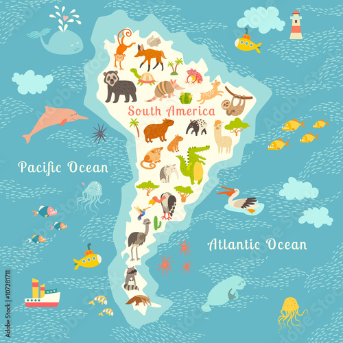Animals world map sorth america vector illustration preschool animals world map sorth america vector illustration preschool baby continents gumiabroncs Images