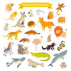 Animals world map, Australia. Vector illustration, preschool, baby, continents, oceans, drawn, Earth