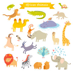 African animals  vector illustration. Big vector set. Preschool, baby, continents, travelling, drawn
