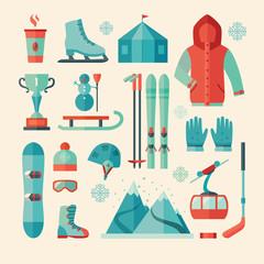 Set of winter sports icon. Mountain climbing.