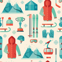 Pattern of winter sports icon
