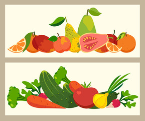 Fresh colored vegetables and fruit banners, vector illustration