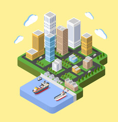 Flat isometric city. Urban neighborhoods, skyscrapers, homes and streets in an isometric view.