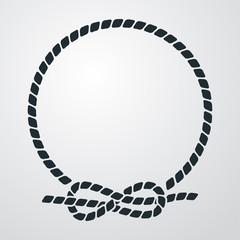 Icono plano circulo de cuerda con nudo en fondo degradado