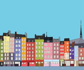 Cityscape Honfleur, vector illustration