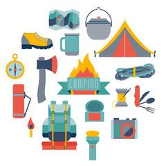 Hikingand camping equipment, icon vector set.