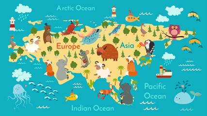 Fototapete - Animals world map, Eurasia. Vector illustration, preschool, baby, continents, oceans, drawn, Earth.