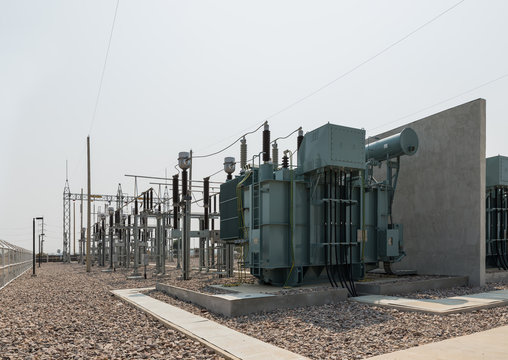 The high voltage equipment in the outdoor electrical substation
