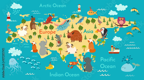Animals World Map Eurasia Vector Illustration Preschool Baby - World map oceans continents