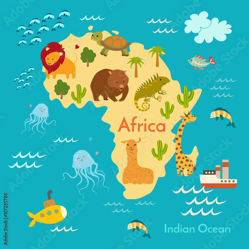 Animals world map africa vector illustration preschool baby animals world map africa vector illustration preschool baby continents oceans gumiabroncs Images