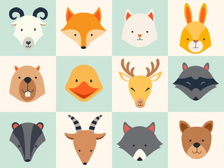 Set of cute animals icons, vector illustrations on colored background.