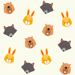 Cute animals vector pattern, illustrations on colored background.