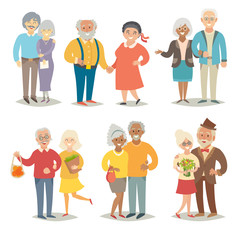 Old happy family. Pensioner happy family. Cartoon characters happy pensioner family. Flat style vector illustration isolated on white background