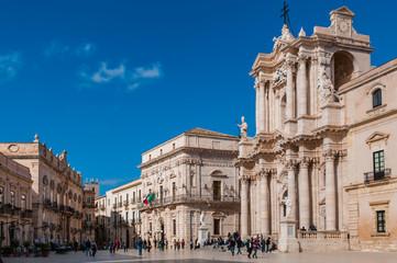 Piazza del Duomo in Ortigia; Siracusa; Sizilien; Italien Fototapete