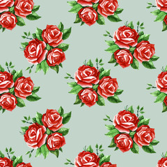 Watercolor roses pattern.