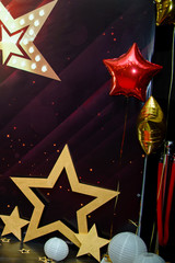 festive background with stars in Hollywood style