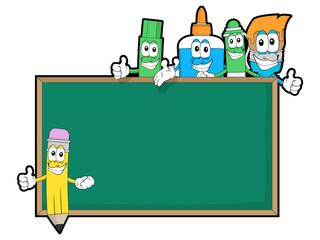 Blank Chalkboard with Stationary Supplies Cartoon