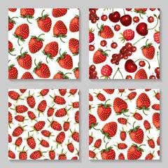 Strawberry seamless pattern set