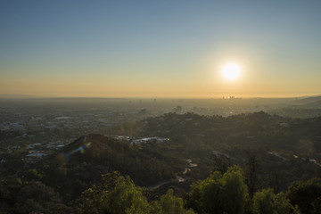 Griffith Park Trails and Century City at Sunset, sunlight and smog