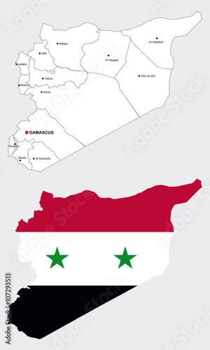 Karte Syrien.Syrien Karte Mit Syrien Flagge Mit Grenzen Der Provinzen Und