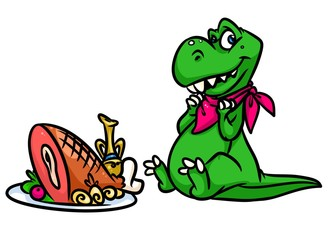 Dinosaur eats meat cartoon illustration isolated image animal character