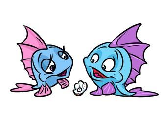 Blue Fish wedding invitation card cartoon illustration isolated image animal character