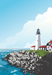 Historic Portland Head Light in Cape Elizabeth, Maine, USA