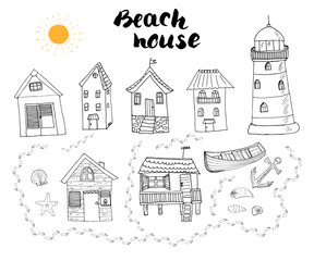 Beach huts and bungalows, hand drawn outline doodle set with light house wooden boat and anchor, seashells and footsteps on sandy beach, vector illustation isolated on white background