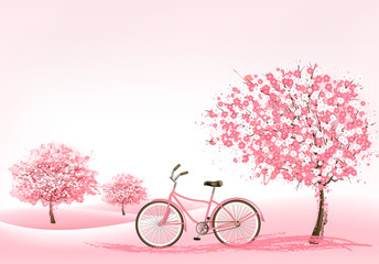 Spring background with a blossoming tree and a bike. Vector.