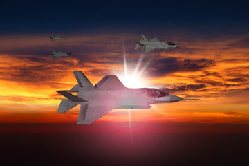 F-35 jets at sunset