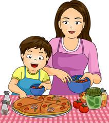 Kid Boy Mom Making Pizza Together