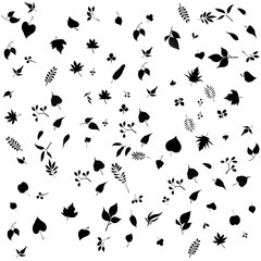 Leafs black silhouette pattern background