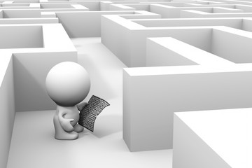 cute 3d human character exploring a maze structure using a map – in grayscales