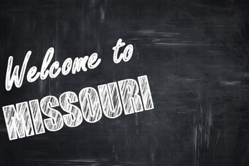 Chalkboard background with chalk letters: Welcome to missouri