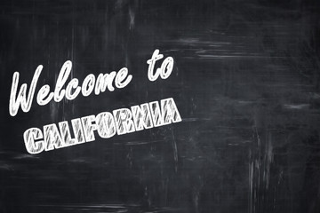 Chalkboard background with chalk letters: Welcome to california