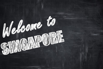Chalkboard background with chalk letters: Welcome to singapore